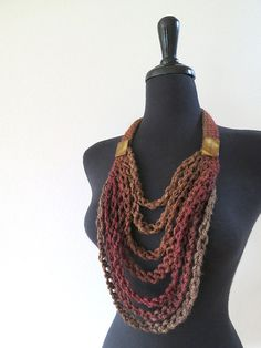 Brown Hazelnut Sienna Dark Taupe Coffee Cacao Color Statement Crochet Necklace Lariat Bib with Shell Beads Ribbon Jewelry, Scarf Jewelry, Crochet Scarves, Knit Crochet, Girls Poncho, Crochet Necklace, Beaded Necklace, Ethno Style, Arm Knitting
