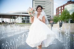 #beautiful #fun #bride #fountains #city #yvonnegollphotography