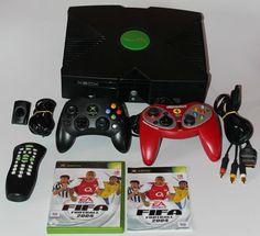 Original Microsoft XBOX Konsole+Alle Kabel+2 Controller+1 Spiel+DVD Kit