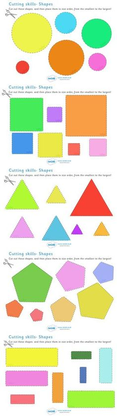 twinkl resources cutting skills worksheet size amp shape ordering thousands of printable primary teaching resources for eyfs and beyond education home school worksheets cut scissors motor neurones - PIPicStats Preschool Learning, Kindergarten Math, Early Learning, Fun Learning, Learning Shapes, Cutting Activities, Learning Activities, Preschool Activities, Teaching Resources