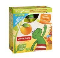 8-6-'13 Zonnatura Knijpfruit Mango Wortel Sinaasappel, new: 6/10 taste: 7/10 pack: 7/10 overall score 6,4/10 | product info online goed