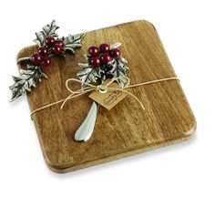 Mud Pie Christmas Holly Small Cutting Board Cheese Spreader Gift Set 4751029 New #MudPie
