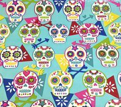 Farbenfrohes Wachstuch von Kitsch Kitchen/Amsterdam mit kunterbunten Sculls und Blumen...  Die Schädel sind ca 6,5x5,5cm groß  Für allerlei Kulturtäschchen, Lunchbags, Sattelbezüge uvm...