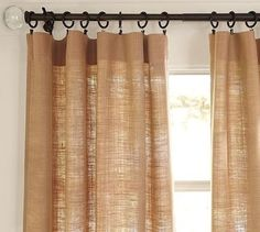 burlap curtains - behind my couch in the living room