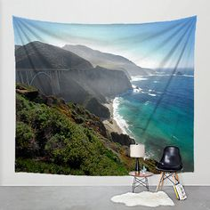 Photo Tapestry California Coast Fabric Art Print Wall Hanging - Highway 1, PCH, West Coast