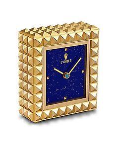 L'Objet Turquoise Stone, 24K Gold Pyramid Clock - Gold