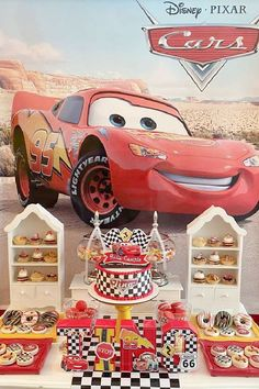 Check out this awesome Disney Cars-themed birthday party! The dessert table is a blast! See more party ideas and share yours at CatchMyParty.com Disney Cars Party, Disney Cars Birthday, Cars Birthday Parties, Birthday Cake, Dessert Table, Disney Movies, Party Ideas, Trucks, Awesome