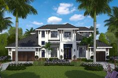 HOUSE PLAN – This Luxury house plan features a gorgeous exterior and a generously proportioned two story floor plan. Four bedrooms, five bathrooms and a large open floor plan are found in the approximate square feet of living space. Florida House Plans, Florida Home, Two Story House Plans, House Floor Plans, Great Room Layout, Contemporary Style Homes, Luxury House Plans, Mediterranean Homes, Bedroom Layouts