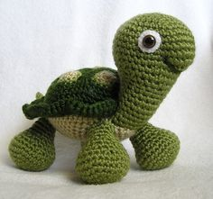 **PLEASE NOTE THAT THIS IS A PATTERN ONLY - NOT THE FINISHED TURTLE**  Although turtles are slow creatures, I found that designing and crocheting this little guy went really fast. Except for his fancy shell, hes done mostly in single crochet. He is 6 1/2 tall to the top of his head, 9 1/2 from head to tip of tail and 7 wide. The pattern is seven pages long and full of photos to help you along the way. I will gladly provide help with the instructions if needed. Just either Etsy convo me or…