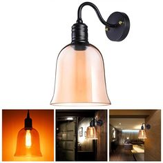 """Yescom Vintage Industrial 7"""" Bell Shape Glass Light Wall Sconce Edison Lamp for Cafe Kitchen Amber -- Awesome products selected by Anna Churchill"""