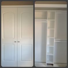 Small closet designed for maximum use. Boxes fit two clear shoe boxes and shelves for boots and more..