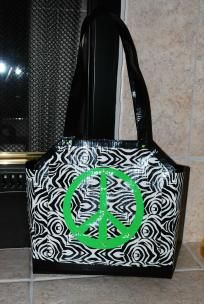 Zebra Print Purse with Neon Green Peace Signs