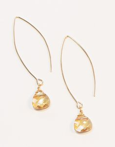Crystal Golden Shadow Long Teardrop Earrings