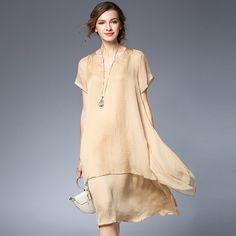 New2017Summer women elegant satin silk chiffon dress Plus Size loose faux two dress female asymmetrical casual vestido XXXXL6398