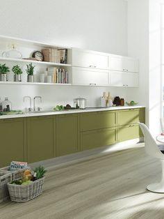 Cocina con muebles verdes