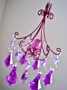 Purple Princess Teeny Car Chandelier Unlit MADE TO ORDER. $23.00, via Etsy.