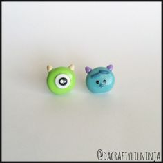 Mike and Sully Tsum Tsum Polymer Clay Kawaii Earrings Mix Match ($6) ❤ liked on Polyvore featuring jewelry, earrings, clay earrings, polish jewelry and clay jewelry