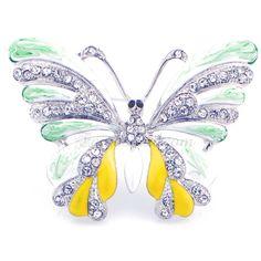 Tri-Color Enamel Wing Butterfly Brooch