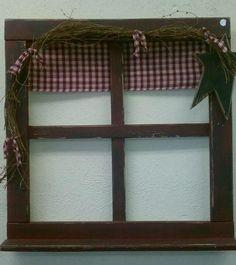 "Handmade 20""x20"" prim window frame with homespun balance....$25.00"
