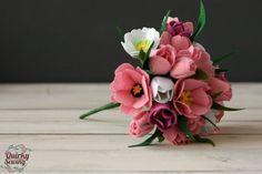 Felt Wedding Bouquet, Alternative Wedding Bouquet, Felt Tulip Bouquet, Tulip Wedding Flowers, Spring Wedding,Pink Tulip Bouquet,Felt Flowers