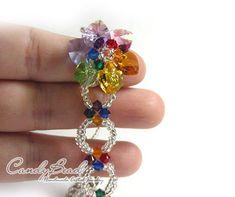 Bracelet Swarovski, Swarovski Jewelry, Crystal Bracelets, Crystal Jewelry, Beaded Jewelry, Swarovski Crystals, Rainbow Flowers, Diy Crafts Jewelry, Bead Kits