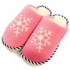 Cute Snowflake Warm Canton Flat Indoor Home Shoes - Gchoic.com