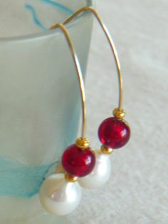 Australian southsea white pearls & Italian Ruby by pearls4me, $140.00