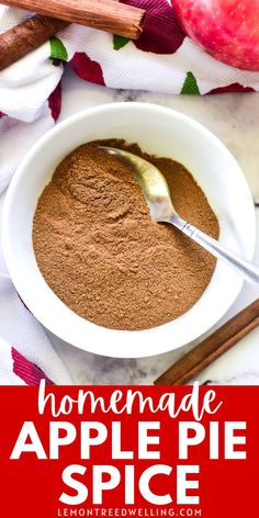 The BEST homemade Apple Pie Spice! This delicious blend of 5 fall spices is easy to make so much better than store bought! Apple Pie Spice, Spices, Homemade Apple Pies, Quick Easy Meals, Lemon, Favorite Recipes, Desserts, Tailgate Desserts, Spice