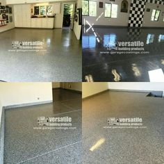Nick with Epoxy Floors sent in these shots showing off our Roll on Rock® Epoxy Flooring used in several different garages.  One of the garages has a #CheckeredFlag Decor to give it a #RacingGarage feel.  You will also notice the #ShinyFloor that is created by using our #Polyaspartic Clear Topcoat. There are also a couple shots showing off a #SolidColorEpoxyFLoor using our #IndustrialEpoxyFlooring.