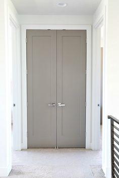 Choosing Interior Door Styles and Paint Colors: Trends Interior Door Colors, Grey Interior Doors, Interior Door Styles, Painted Interior Doors, Door Paint Colors, Painted Doors, Home Interior Design, Interior Paint, Contemporary Interior Doors