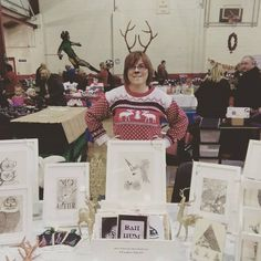 Christmas Fair Display and this is moi!! wearing my handmade antlers #Christmas Find me on Instagram and Facebook to see more of my work! @CorinaFitzgibbonArt www.facebook.com/... CorinaFitzgibbonArt© All Rights Reserved.