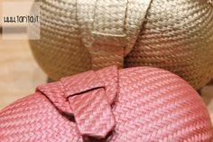 Hoss Intropia. Coral and gold straw handbag.