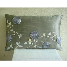 Silver Rose Garden - Oblong / Lumbar Throw Pillow Covers - Inches Silk Dupioni Cover with Ribbon Embroidery Lumbar Throw Pillow, Silk Pillow, Throw Pillow Covers, Throw Pillows, Sewing Pillows, Diy Pillows, Small Pillows, Decorative Pillow Covers, Decorative Cushions