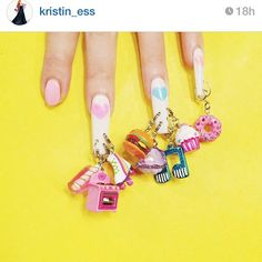 We are totally blushing! ☺️ The amazing @kristin_ess can't get enough of @ciaomanhattan2012 's nail art mani featuring our charms!! #nailart #nails #mani #nailsbymei #BendTheRules #charmit