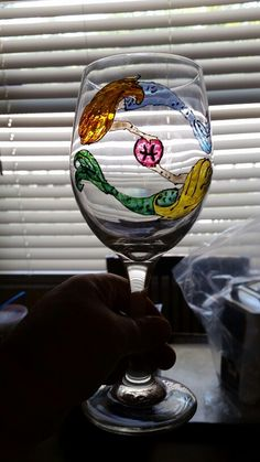 Pisces hand painted wine glass