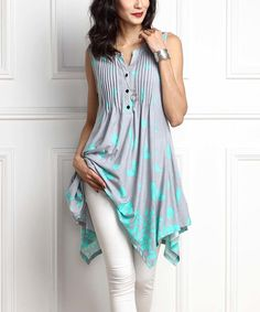 Look what I found on #zulily! Gray & Aqua Floral Notch Neck Handkerchief Sleeveless Tunic by Reborn Collection #zulilyfinds