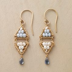 """DOUBLE PYRAMIDS EARRINGS--Blue opals and mystic white sapphires fill double pyramids; blue sapphires dance below. In 14kt goldfill with French wires. Exclusive. Handmade in USA. 1-1/2""""L."""