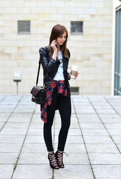 ankle pants and lace up heels