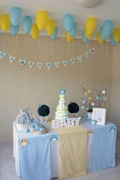 Chá de Fraldas do Benjamin Baby Shower Decorations For Boys, Baby Decor, Birthday Decorations, Baby Party, Baby Shower Parties, Baby Boy Shower, Baby Countdown, Sunshine Birthday, Baby Shawer