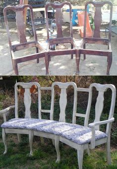 Upcycling old furniture is a great way to avoid purchasing something new. Here are some great ideas to transform those old chairs into a beautiful bench. Refurbished Furniture, Repurposed Furniture, Furniture Makeover, Painted Furniture, Upcycled Furniture Before And After, Furniture Projects, Furniture Making, Home Projects, Diy Furniture