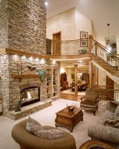 Nice I want a big open room with an open staircase and a fabulous fireplace! The post I want a big open room with an open staircase and a fabulous fireplace! Style At Home, Open Staircase, Home Photo, House Goals, Design Case, Loft Design, Modern Design, Dream Rooms, Home Living Room