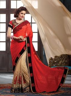 Beige & Coral traditional Indian half half saree in jacquard net G15285