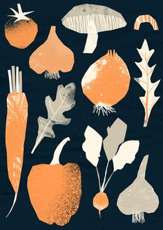 'Ingredients' by Tom Abbiss Smith Art And Illustration, Vegetable Illustration, Illustrations And Posters, Graphic Design Illustration, Veggie Art, Arte Sketchbook, Poster S, Graphic Design Inspiration, Branding