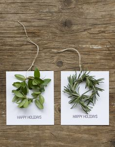 Super simple mini-wreaths, just clip some fragrant rosemary and wrap it up.