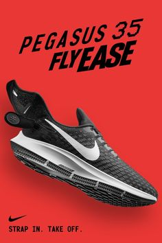Strap In. Take Off. The Pegasus 35 Flyease is a lace-free, easy-on version of your favorite running shoe. Now on Nike.com.