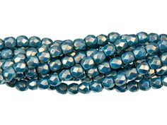 """Czech Fire Polished Round Faceted Beads in Crystal Senegal Luster 16/"""" strand"""