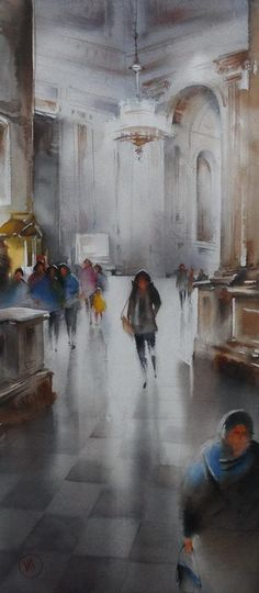 Ilya Ibryaev - In St. Isaac's Cathedral - (St. Petersburg) - watercolor (53х24) cm