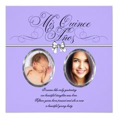 Lavender Purple Photo Quinceanera Invitations