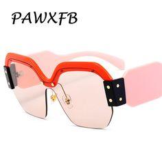 200c44b3d6 Pop Age 2018 Luxury Italy Brand Designer Oversized Square Sunglasses Women  Retro Rimless Pink Sun Glasses