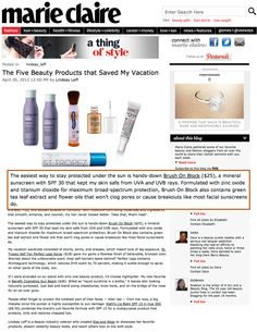 "Marie Claire says Brush On Block is one of the ""Five Beauty Products that Saved My Vacation"